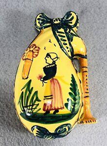 VTG HB Henriot Quimper Bagpipe Wall Pocket Signed Yellow Ceramic France PLS READ
