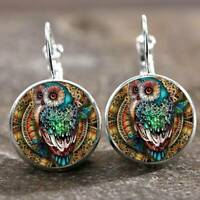 Vintage Style Silver Owl Glass Cabochon Hoops Drop Earrings A Pair/Set