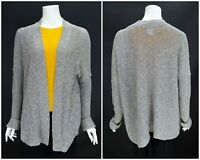 Womens Sarah Pacini Silver Grey Cardigan Jumper Knit Cotton Linen Open One Size