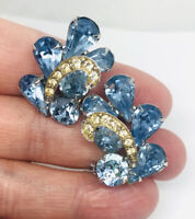Large WEISS Blue Rhinestone Earrings Signed Rhodium Plated Vintage Jewelry