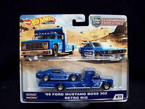Hot Wheels Car Culture Team Transport 1969 Ford Mustang Boss 302 & Retro Rig.