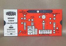 Unbrako Socket Screw Calculator Slide Rule Guide Standard Pressed Steel