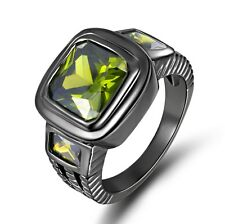 Popular Size 12 Green Peridot 18K Black Gold Filled Anniversary Ring For Men's