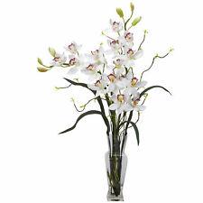 Cymbidium Silk Flower Arrangement Orchids Home Decoration Nearly Natural White