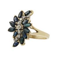 Ladies Estate 14K Yellow Gold Diamond & Blue Spinel Gemstone Cocktail Ring