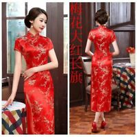 Traditional Chinese Women's Silk Satin Long Dress Cheongsam Qipao SZ S-6XL RED
