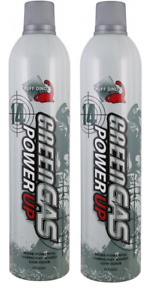 Puff Dino 560ml Green Gas Power Up Can With Oil 14Kg pack of 2 Airsoft