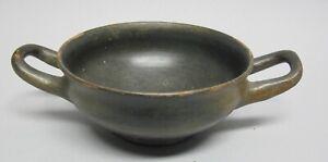 ANCIENT GREEK POTTERY SKYPHOS Black Slip Shallow Wine Cup  4th C. BCE