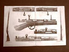 Incisione del 1875 Armi e Artiglieria Fucile a ago francese e sistema Chassepot