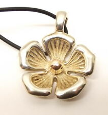 Joseph Esposito Sterling Silver 14K Gold Flower Pendant Necklace QVC Signed