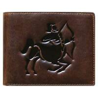 Bi-Fold Brown Genuine Leather Wallet ID Credit Card Holder Zodiac SAGITTARIUS