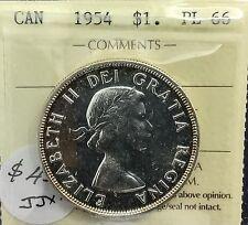 Canada 1954 Silver Dollar PL 66    ICCS  Wonderful Coin