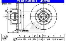 ATE Juego de 2 discos freno Trasero 245mm para AUDI A4 24.0110-0210.1