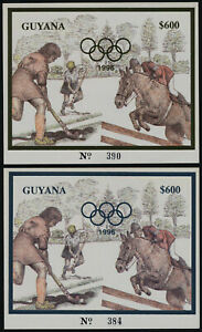 Guyana imperf s/s MNH 1996 Gold & Silver Olympics, Hockey, Equestrian Horse