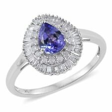 Fabulous 9K W Gold Grade A Tanzanite, Diamond Ring 1.500 Ct.  sizes M, N