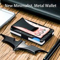Steel Purse Slim Carbon Fiber Credit Card Holder Money Clip Metal Wallet
