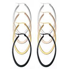 Womens 1-4 Pairs a Set Stainless Steel Teardrop Hoop Earrings Gift 40-60MM