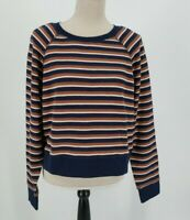 Madewell Shrunken Pullover Sweatshirt Navy Vicky Stripe Womens Size L NWT
