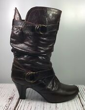 Women's Leather ? Boots Size EU 39 US 8 Brown Scrunch Mid Calf Booties Buckles