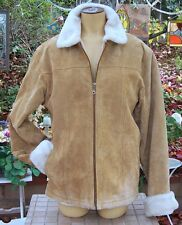 "ALDER Women's Tan soft Suede Leather winter, snow,coat,  Jacket Size ""S"""