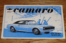 1967 Chevrolet Camaro Owners Operators Manual 67 Chevy