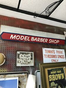 Vintage Model Barber Shop Sign 42x8 wood Double Sided From Ypsilanti Mi