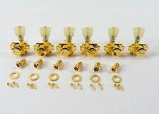 Kluson Revolution Locking Tuners 3x3 Pearloid keystone button - Gold KRGL-3-GP