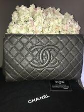 Authentic Chanel Bag Clutch matelasse  Leather certificates CC Logo Dark Gray