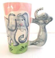 Large Pink Ceramic Hand Painted Elephant Handle Coffee Tea Mug Cup 15cm
