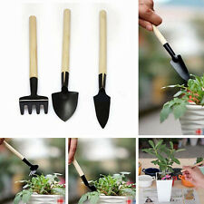 3Pcs Mini Plant Garden Gardening Tools Set With Wooden Handle Rake Shovel New GY