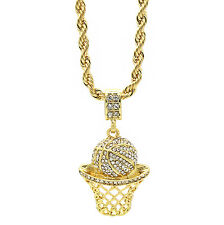 "Mens 14k Gold Plated Hip Hop Basketball ""Cz"" Iced Pendant 4mm 24"" Rope Chain"