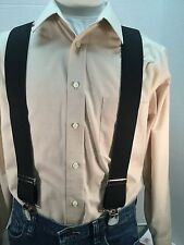 "New, Men's, Black, X Large, 48"", 2"", Twin Pin Clip, Suspenders, Made in the USA"