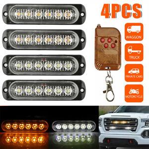 4Pcs 6 LED Car Truck Emergency Hazard Flash Strobe Light Dash Warning Lamp