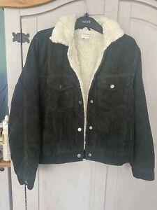 Dark Green Corduroy Cord Fleece Lined Jacket Topshop Size 10