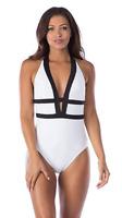 NEW!!! La Blanca Women's Deep V Plunge Halter One Piece Swimsuit (White, Sz: 10)