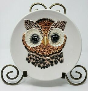 """Owl Bird Plate 3D Textured Made in Italy Decorative Collectible Unbranded 8.5"""""""