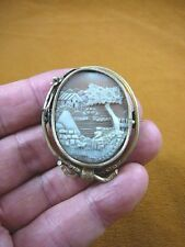 C-1333) old world Village scene Sardonyx shell carved oval CAMEO gold Pin brooch