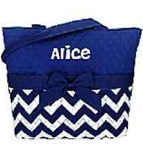 Navy Chevron Quilted Diaper Bag-NWT