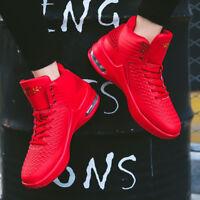Men's Air Cushion Basketball Shoes Retro Slamdunk High Top Sports Sneakers Red