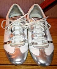 GUESS white silver chrome fashion flat Shoes womens size 9.5 M