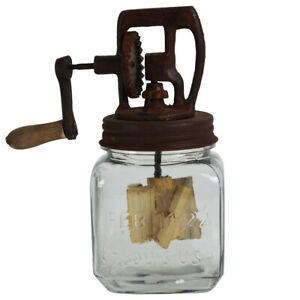 Rustic Antique Style Dazey Glass Crank Butter Churn Primitive Farmhouse Decor