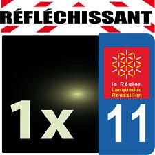 DEPARTEMENT 11 rétro-réfléchissant Plaque Auto 1 sticker autocollant reflectif