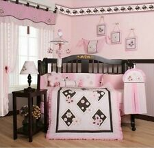Girls Crib Bedding Pink Brown Butterfly 13 Pc Set Baby Toddler Quilt Nursery NEW
