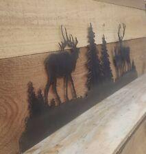 Metal ELK art Scene-- Large/ Cabin, Home decor
