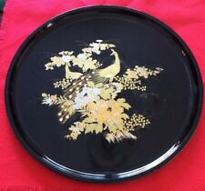Vintage Otagiri Lacquerware Black & Gold PEACOCK Round Serving Tray 14