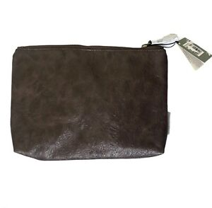 Morris & Co Travel Pouch Mens Brown Faux Leather Zip Wash Bag Purse Lined NEW