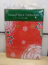 Christmas House Flannel back red holiday Tablecloth 52X90 oblong in New (e)