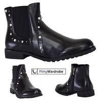 Ankle Chelsea PU Boots Low Heel Diamante Zip Closure Casual Shoes Womens Ladies