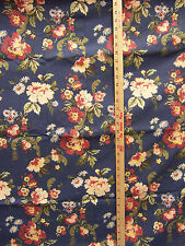 """Blue Floral Flower Fabric Daisy Mum Lined w/ Finished Edge 36"""" x 124"""" Craft"""