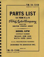 TM10-1348 ~ GPW ~ Jeep ~ Parts List Manual ~ Reprnt